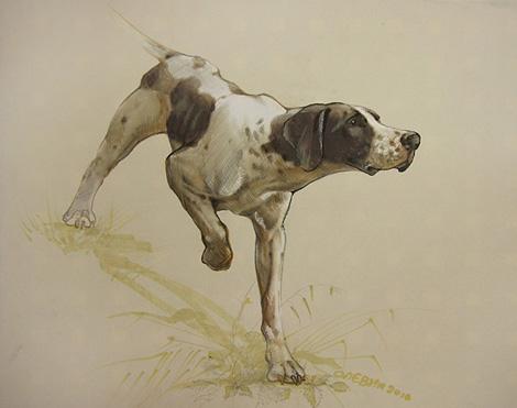 охотничьи собаки художник Олег Левин