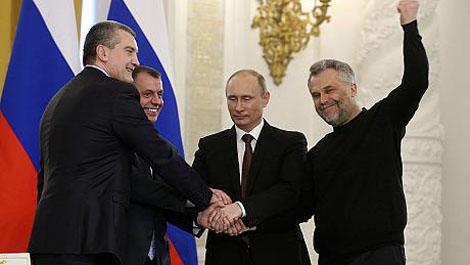 Президент Владимир Путин, руководители Крыма и Севастополя подписали в Кремле договор о вхождении республики и города в состав России