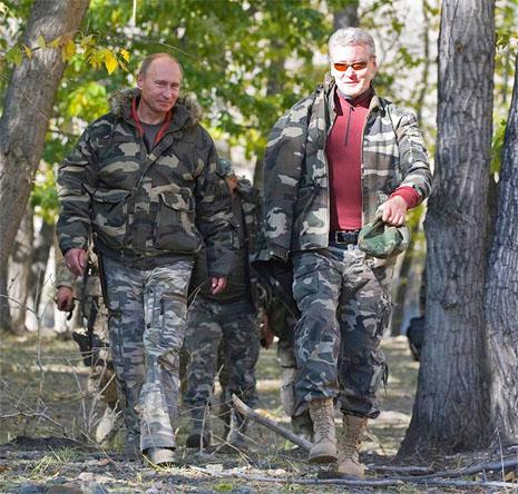 Владимир Путин и Сергей Собянин в заповеднике 25 сентября 2010 года